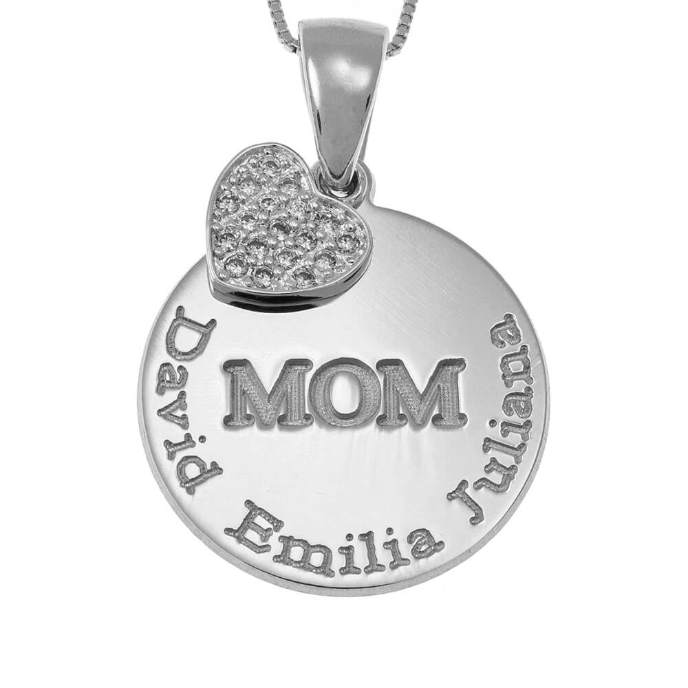 Engraved Mom DiscoCollana With Inlay Cuore silver
