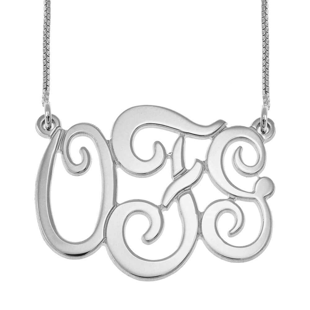 Monogram Three Initials Collana silver