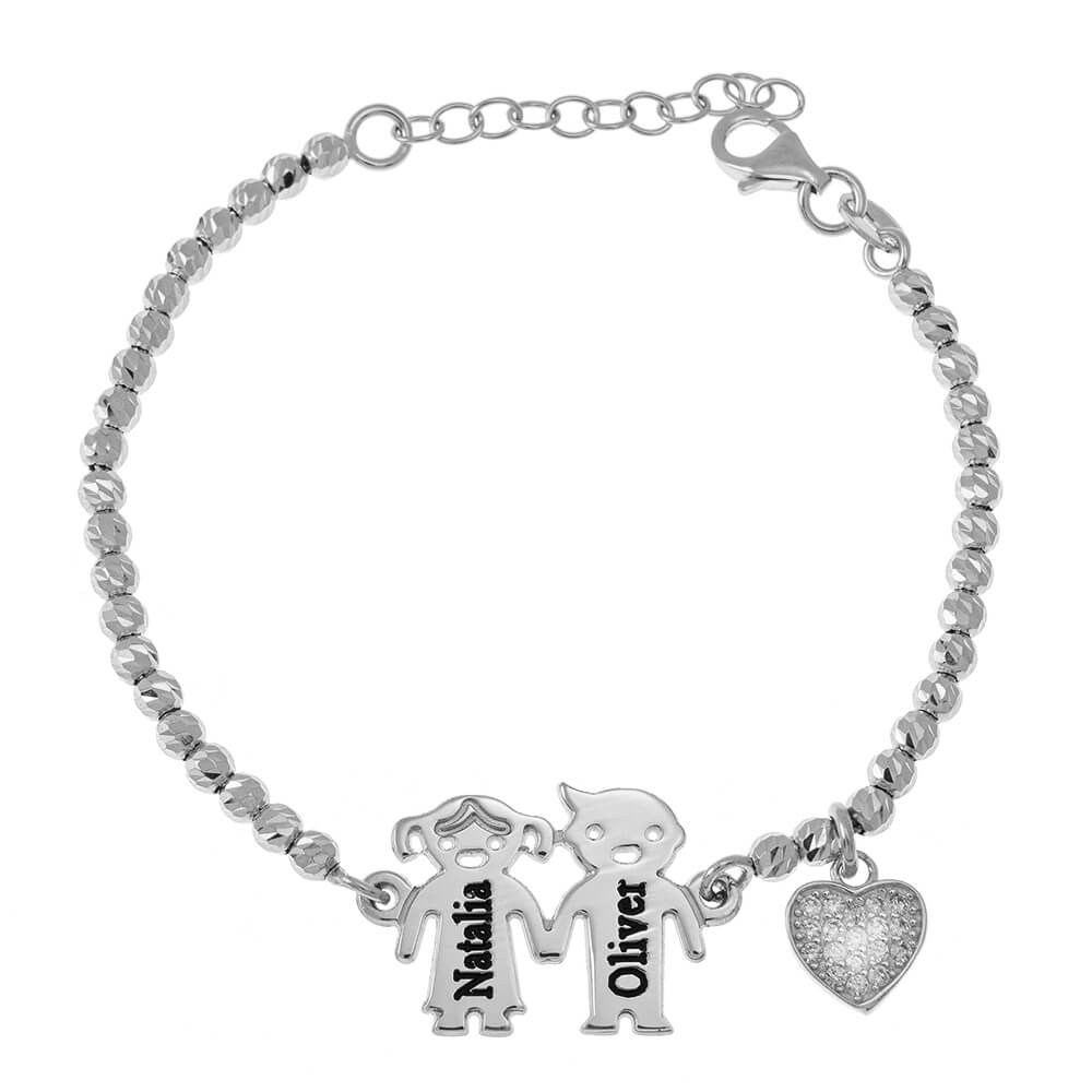 Engraved Children Bead Braccialetto With Inlay Cuore silver