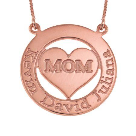 Collana con Cerchio Inciso e Cuore per la Mamma