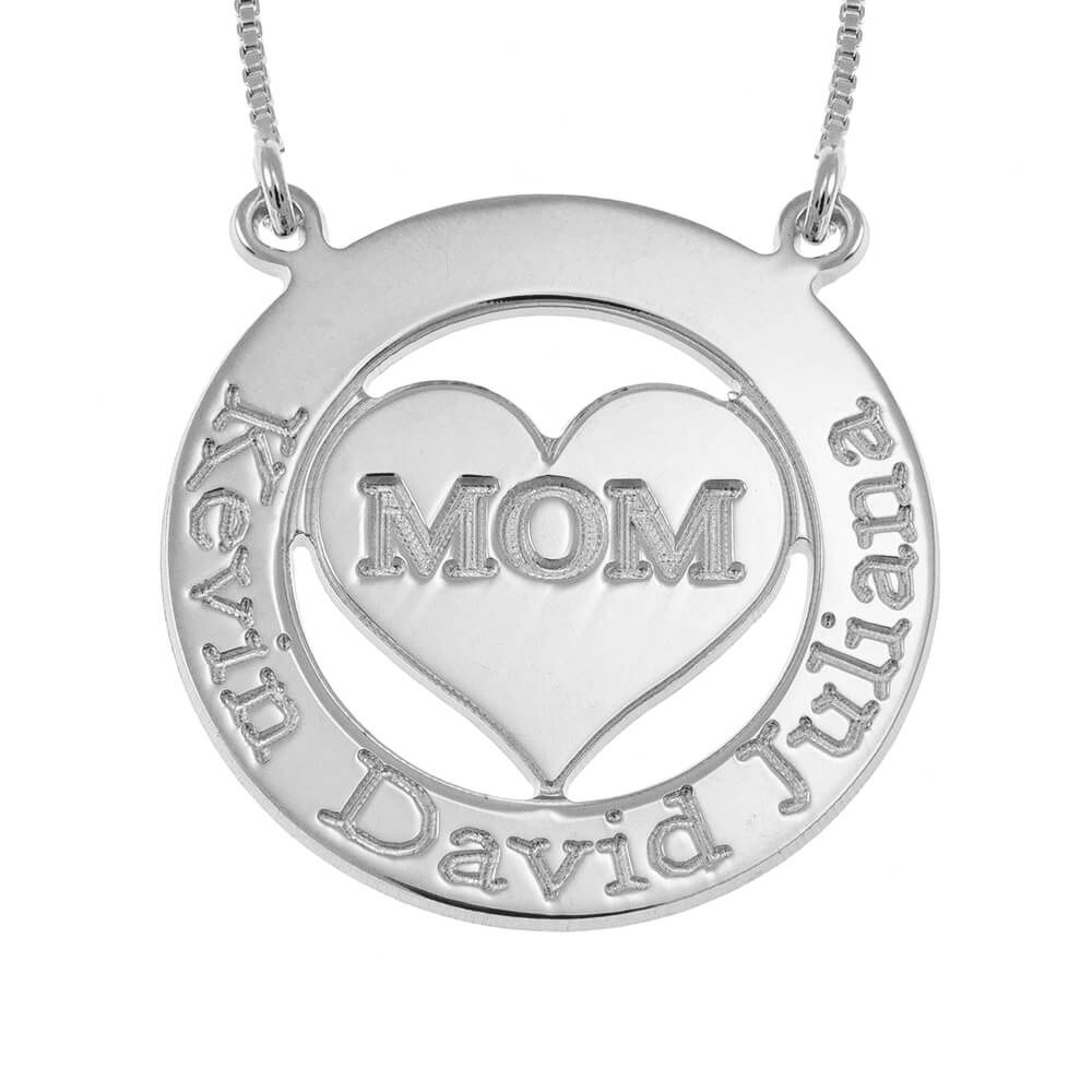 Engraved Circle Mom Collana with Cuore silver