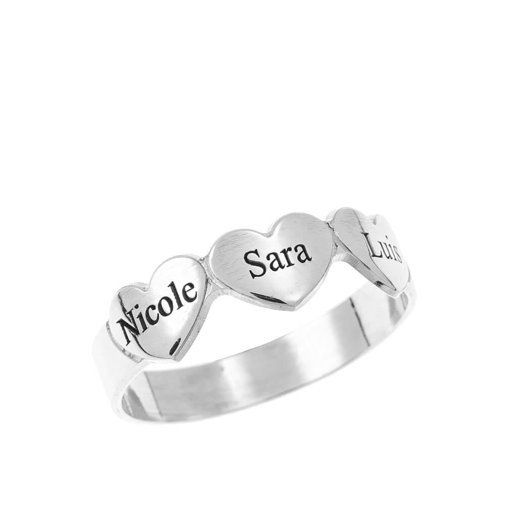 Engraved Cuori & Nomi Ring silver