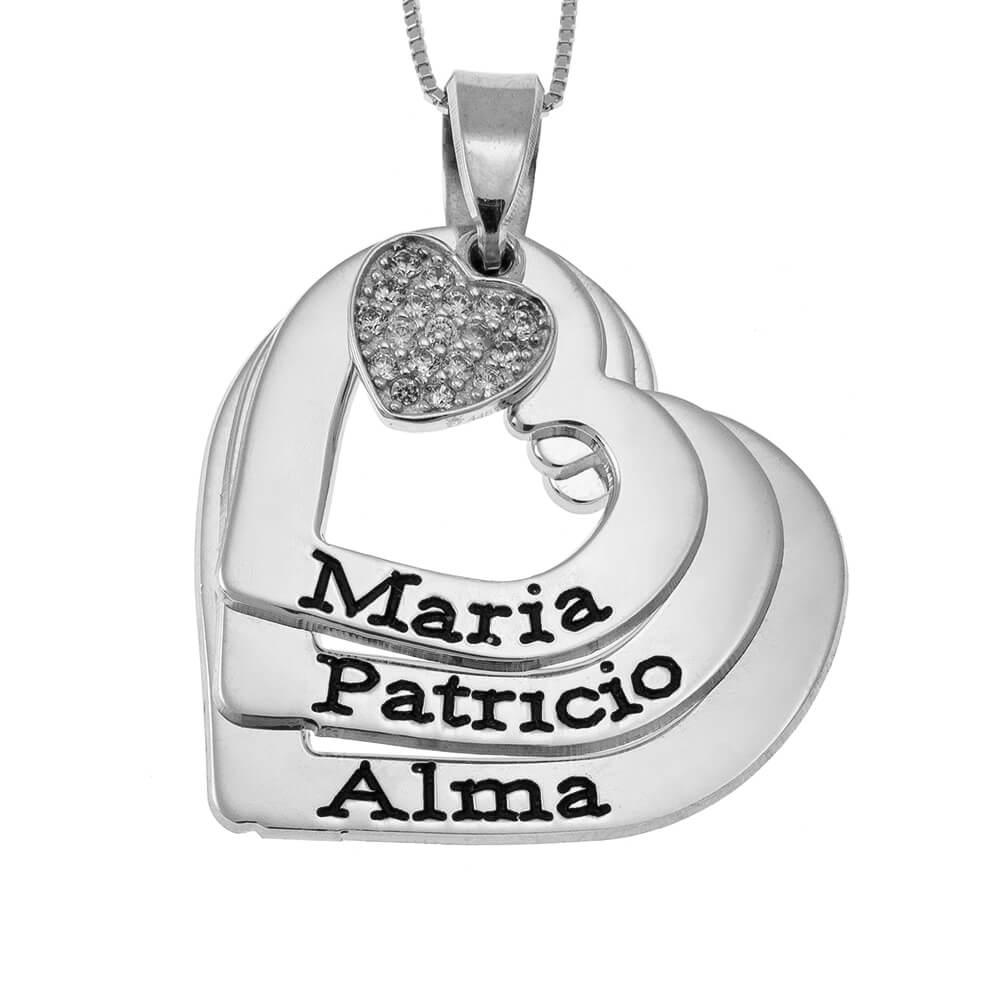 Cuori Nomi Collana With Inlay Cuore silver