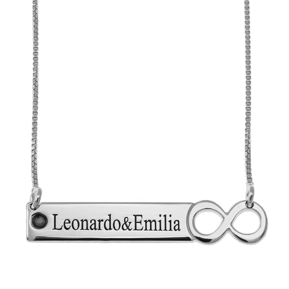 Infinity Barra  Collana with engraving silver