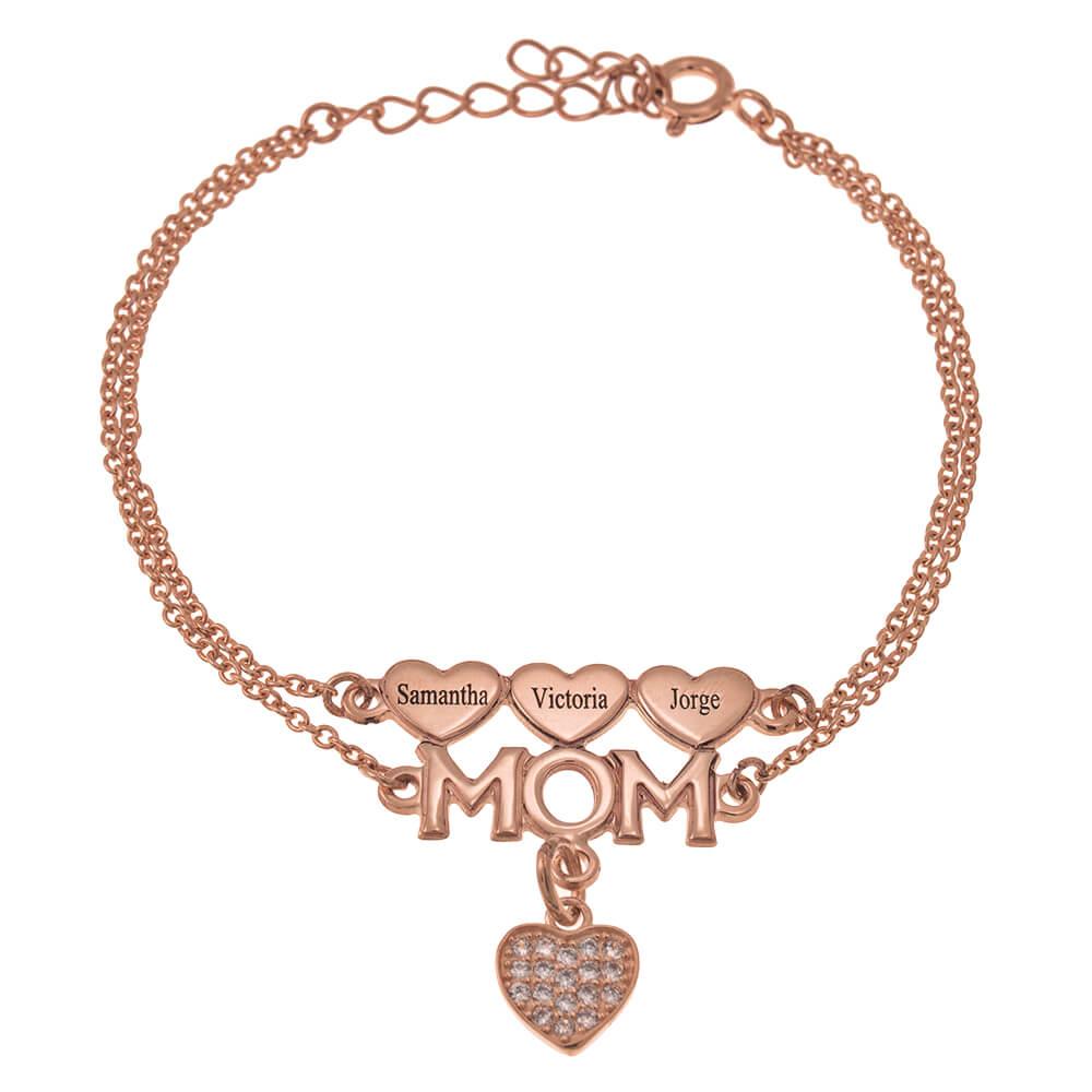Mom Double Chain Braccialetto With Cuori And Inlay Cuore rose gold