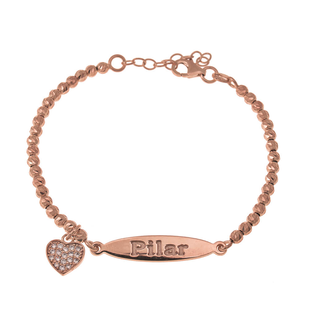 Oval Nome Bead Braccialetto With Inlay Cuore Pendente rose gold