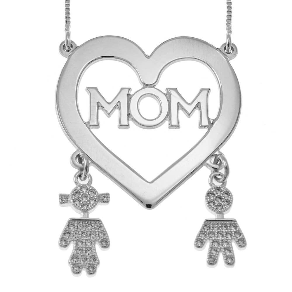 Mom Cuore Collana With Inlay Kids silver