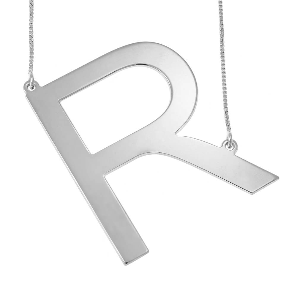 Big Initial Letter Collana silver