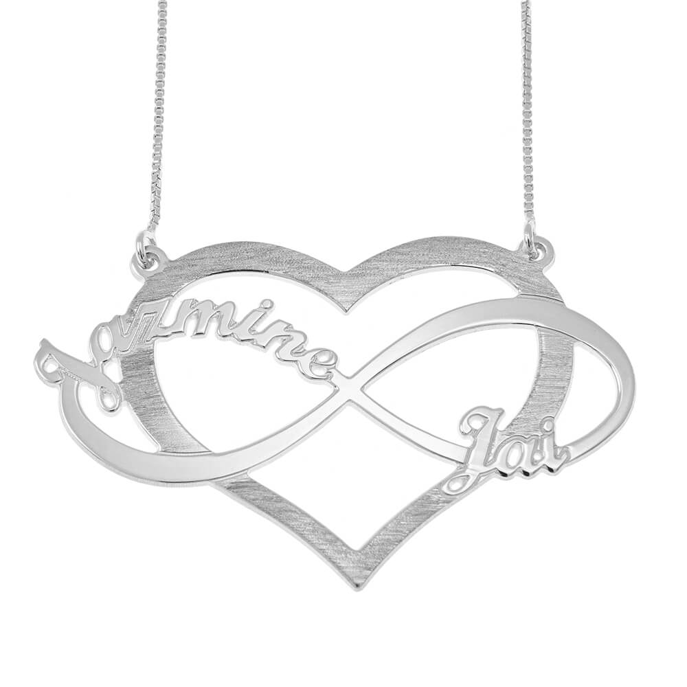 Cut Out Infinity Nomi and Cuore Collana silver