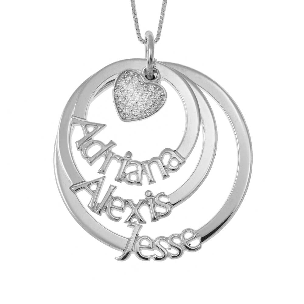 Cut Out Mother Layers Dischi Collana With Inlay Cuore silver