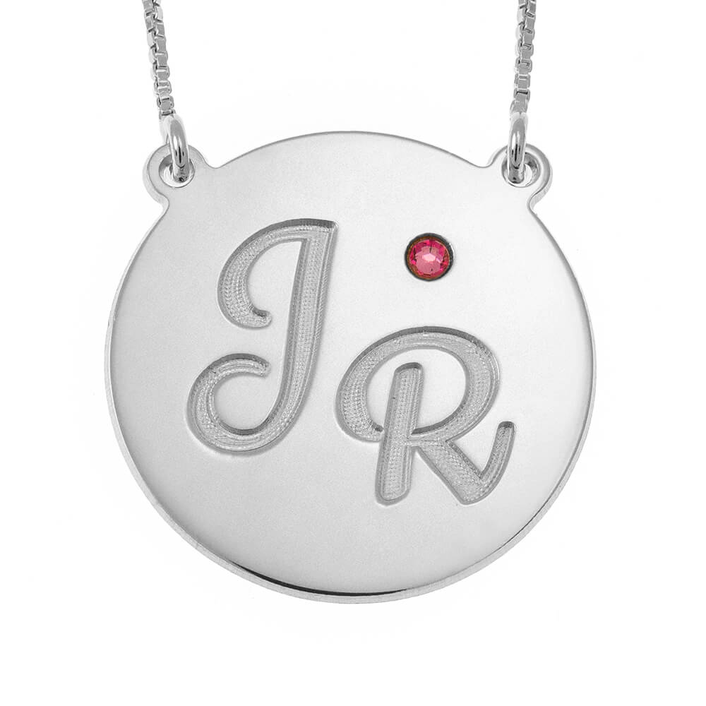 Engraved DiscoInitials Collana With Birthstone silver