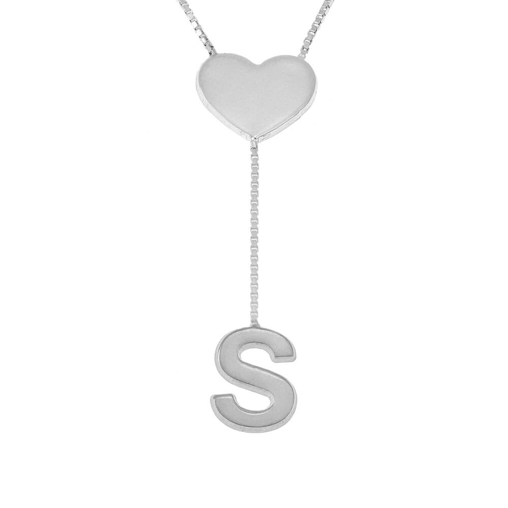 Falling Letter Collana with dainty Cuore silver