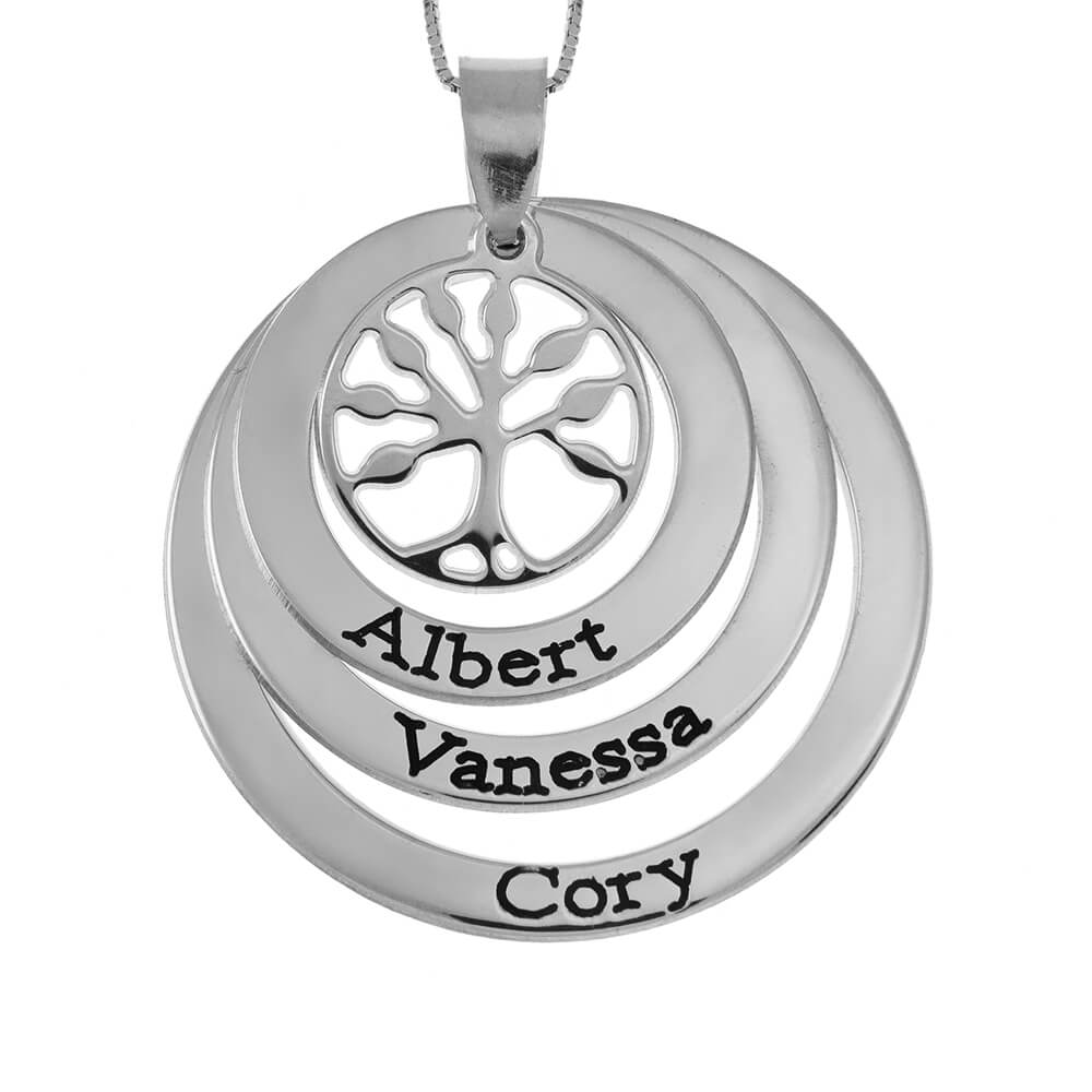 Family Layers Dischi Collana With Tree Of Life silver