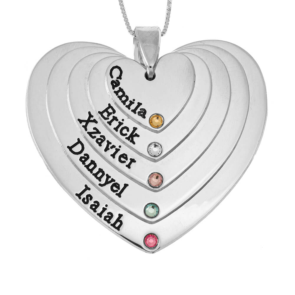 Five Shades Engraved Cuori Mother Collana With Birthstones silver