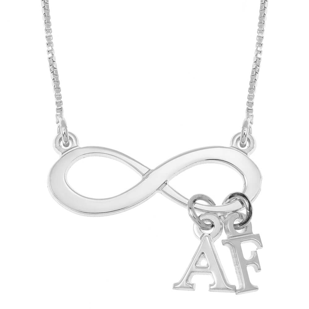 Infinity Collana With Dangling Initials silver