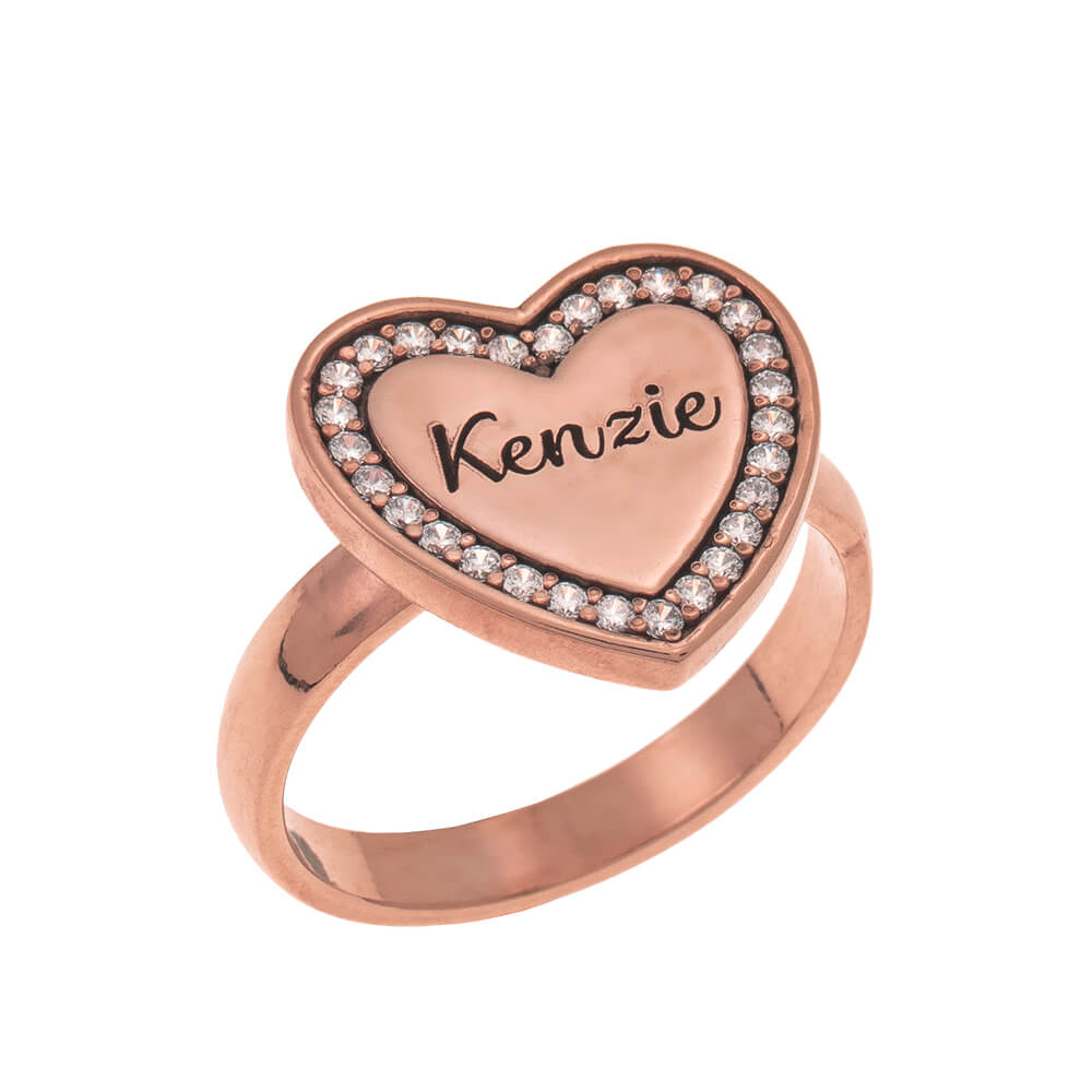 Inlay Cuore Signet Ring rose gold
