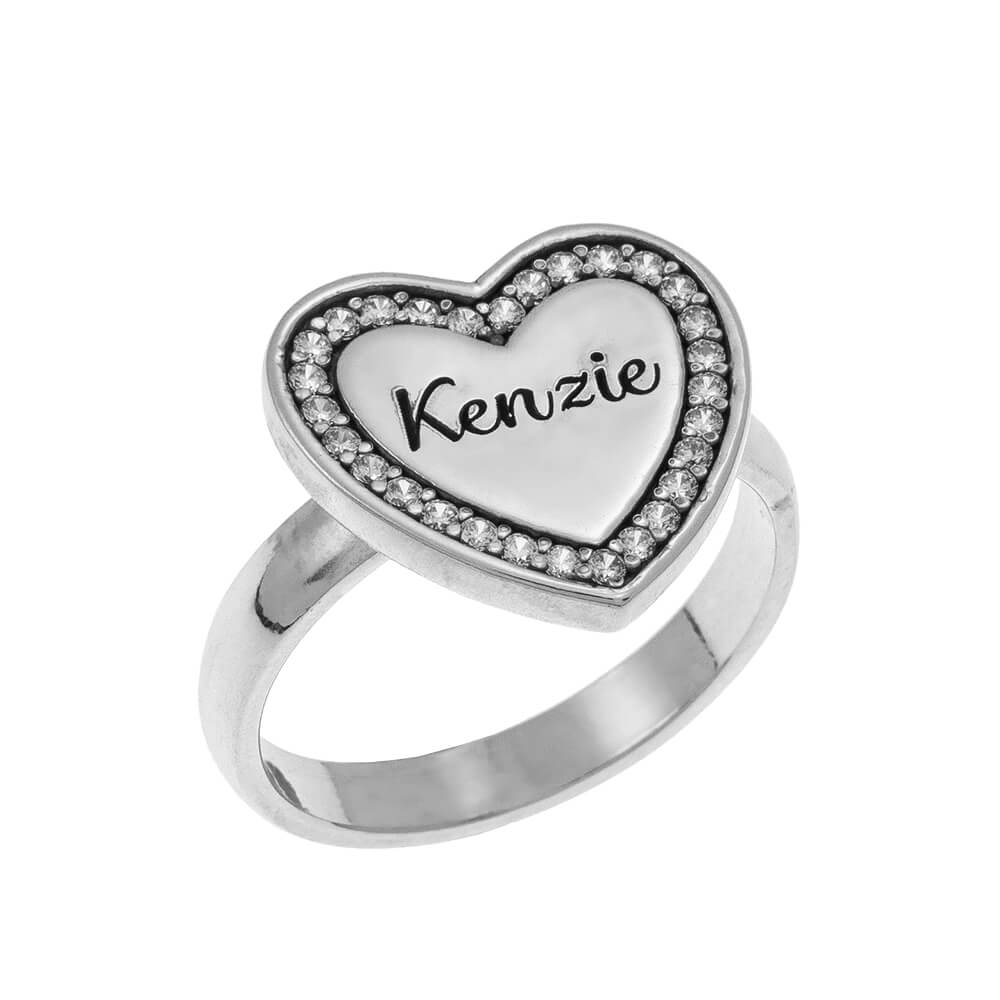 Inlay Cuore Signet Ring silver