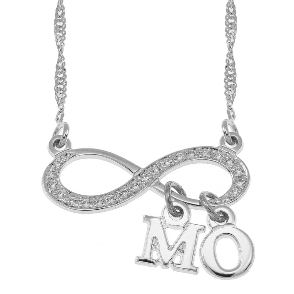 Inlay Infinity Collana With Dangling Initial silver