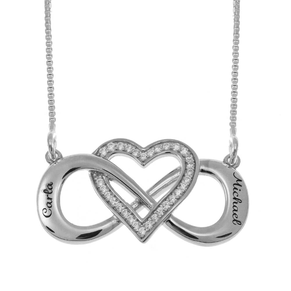 Intertwined Inlay Cuore and Infinity Collana silver