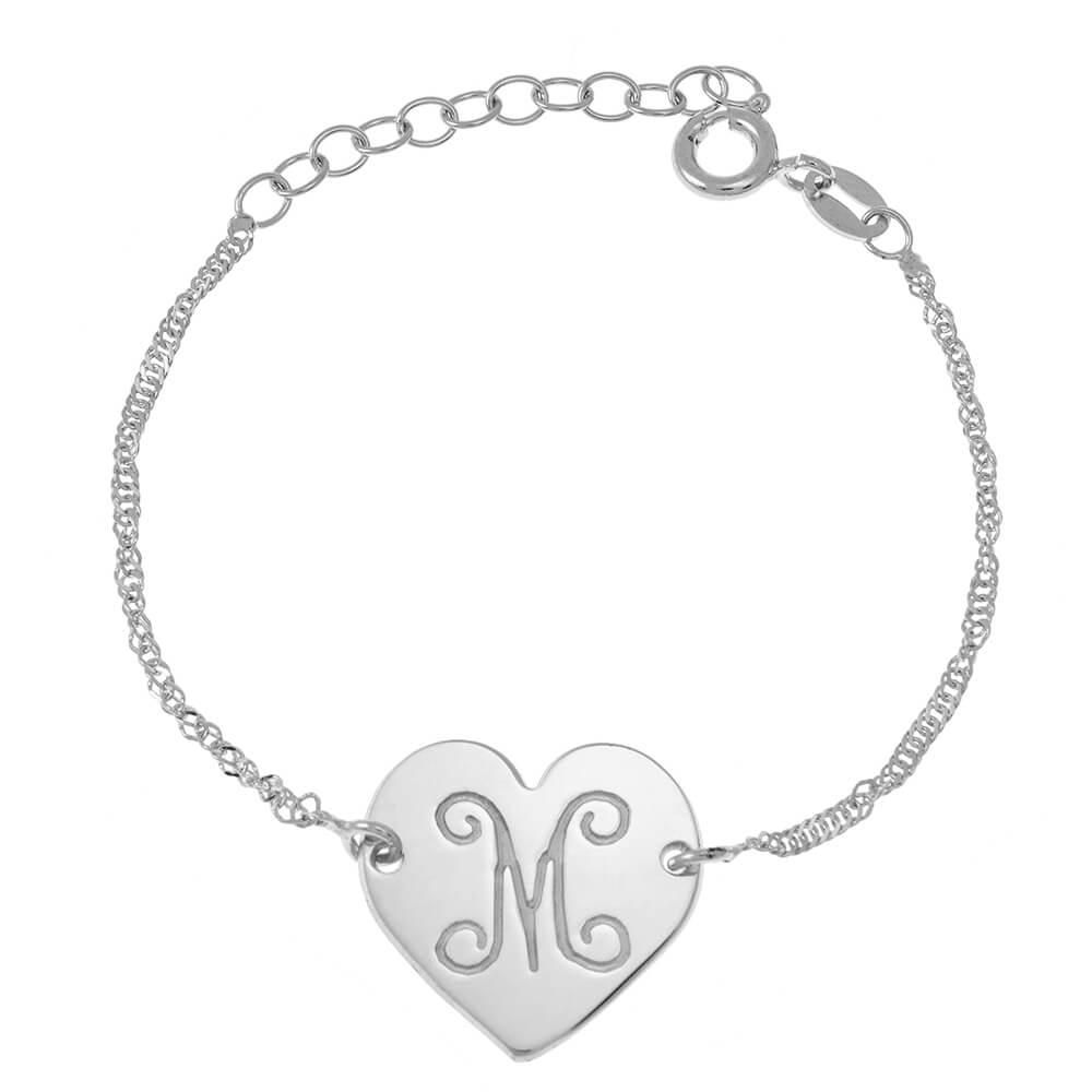 Monogram Initial Cuore Braccialetto silver