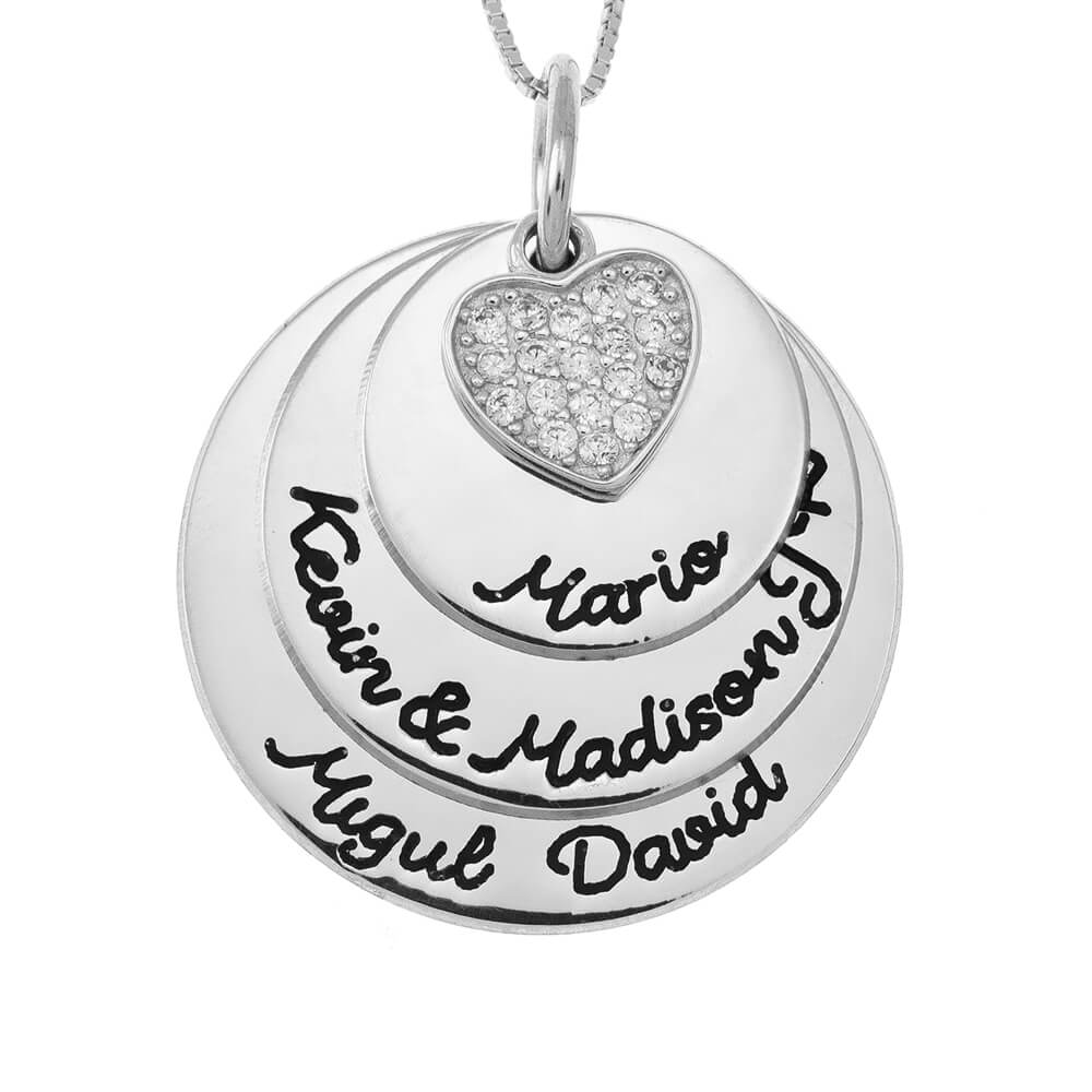 Mother Circles Collana With Inlay Cuore silver