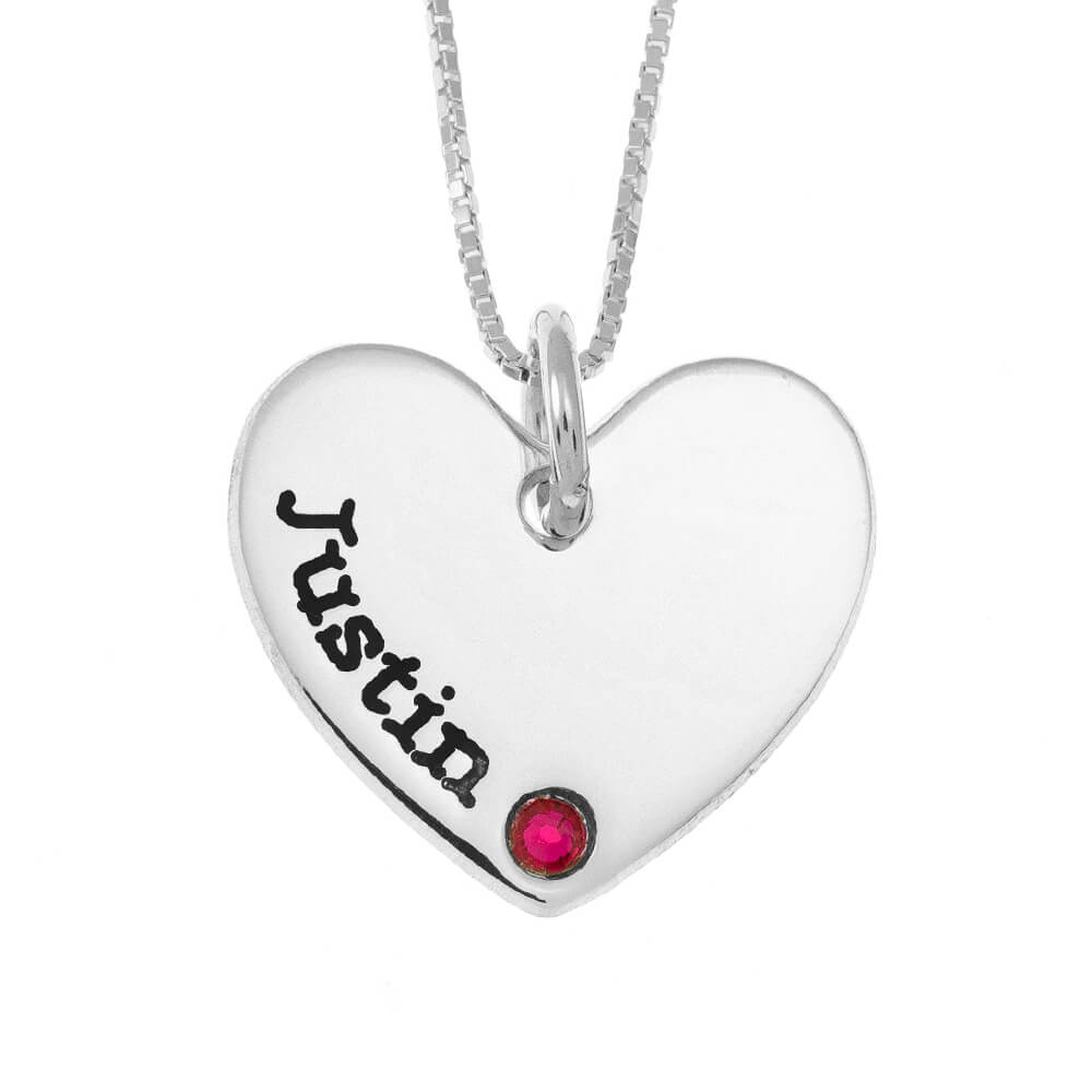 One Shade Engraved Cuore Mother Collana With Birthstone silver