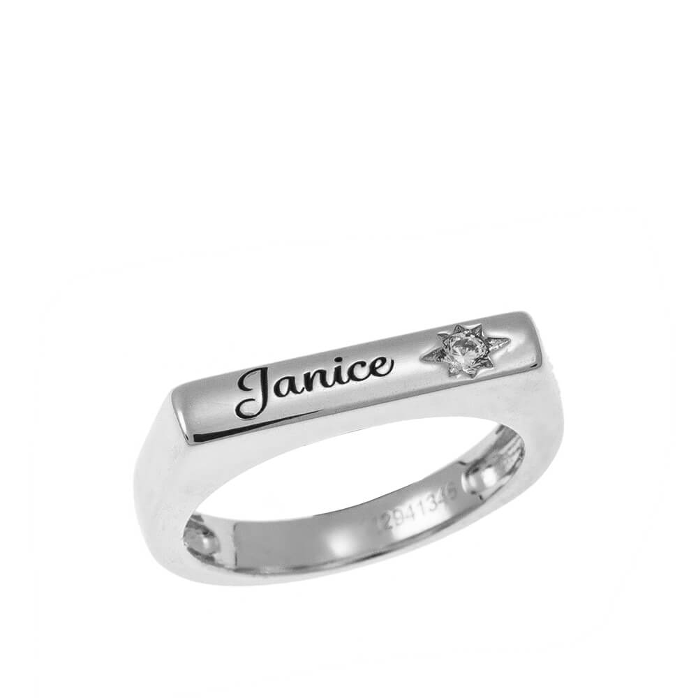 Stackable bar Nome Ring With White Pietra silver