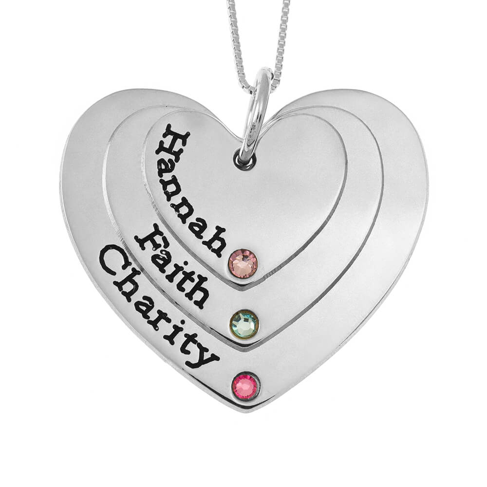 Three Shades Engraved Cuori Mother Collana With Birthstones silver