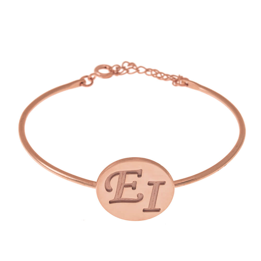 Two Initials DiscoBangle rose gold