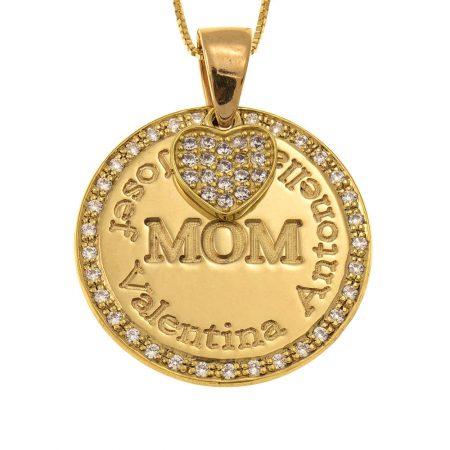 Collana con Cerchio e Ciondolo a Cuore per la Mamma