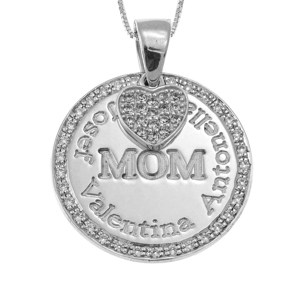 Circle Mother Collana With Inlay Cuore silver