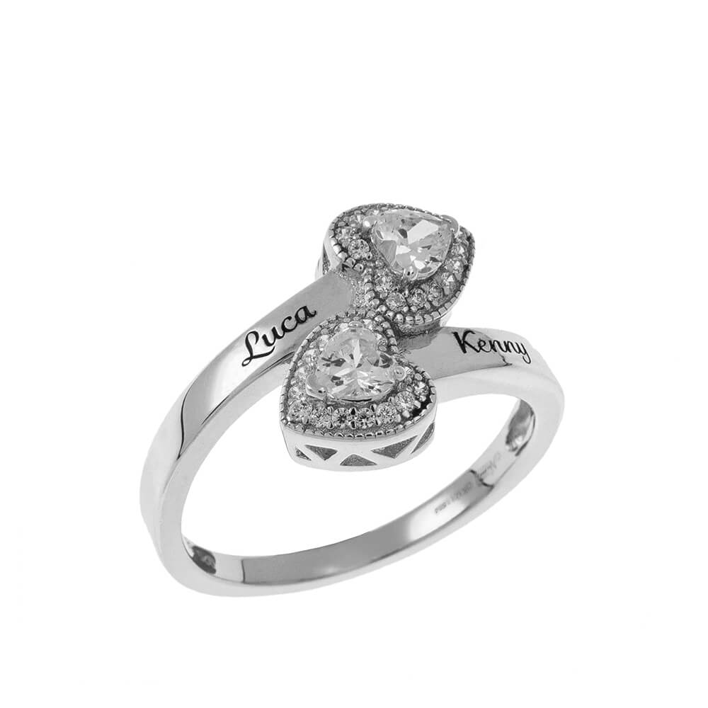 Double Inlay Cuore Ring silver