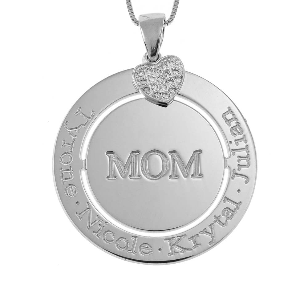 Engraved Circle Mom Collana with Inlay Cuore silver