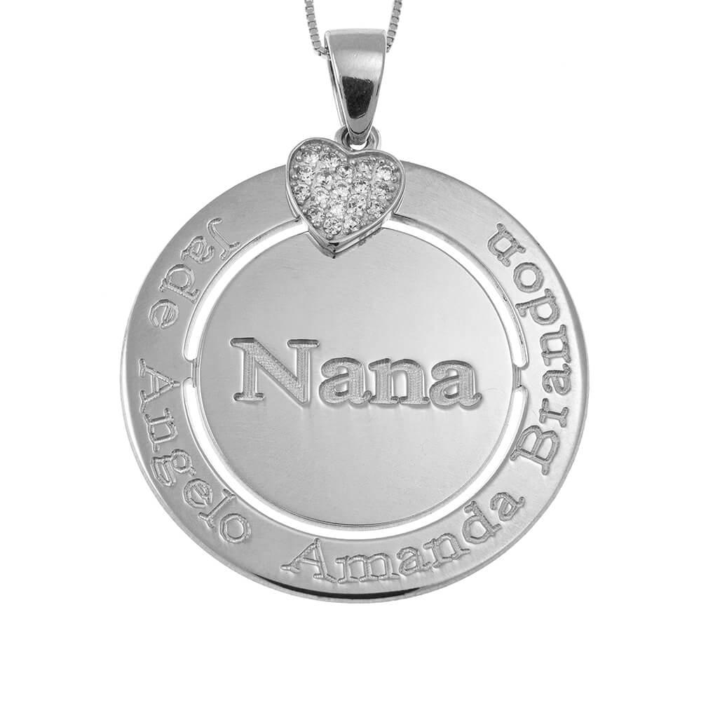 Engraved Circle Nana Collana with Inlay Cuore silver