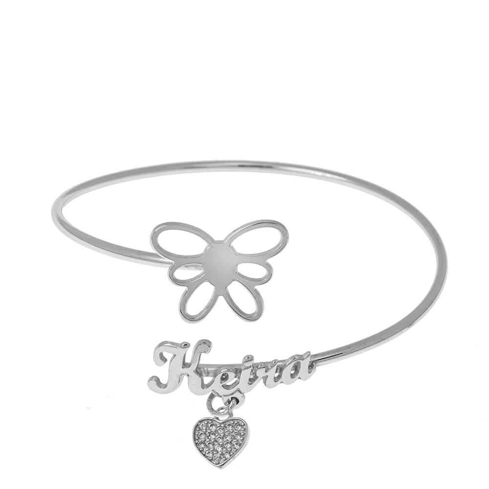 Flex Nome Braccialetto With Butterfly silver