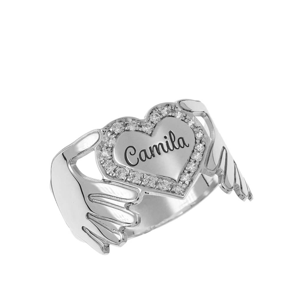 Inlay Cuore Ring silver