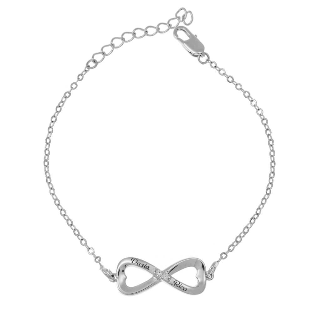 Inlay Infinity Braccialetto silver