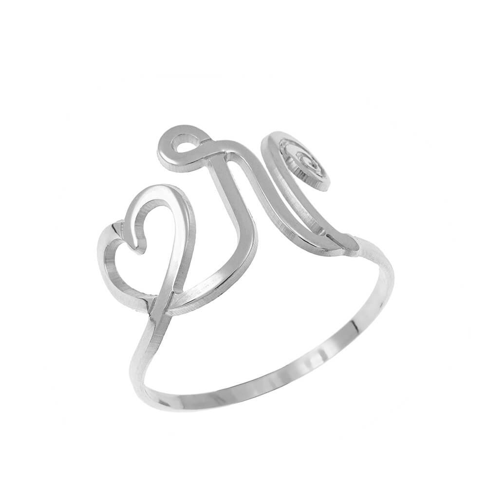 Interlocking Cuore and Initial Ring silver