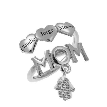 Anello Mamma con Nomi e Cuori