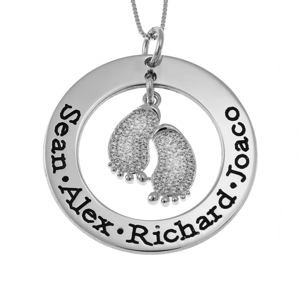 Round Mother Collana With Inlay Baby Piedi silver