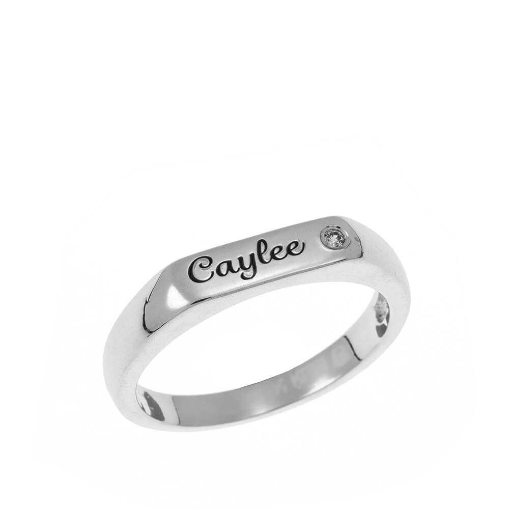 Stackable Inlay Nome Ring silver