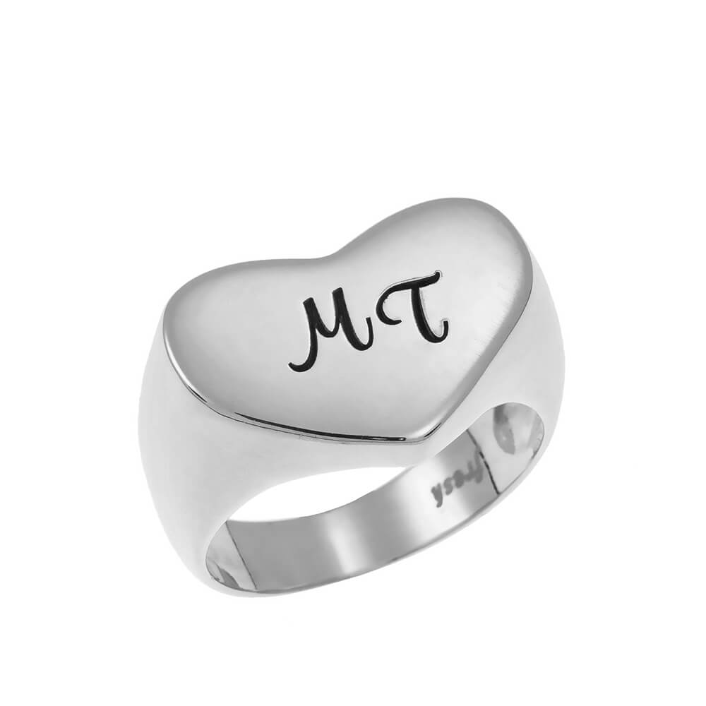Two Initials Cuore Signet Ring silver