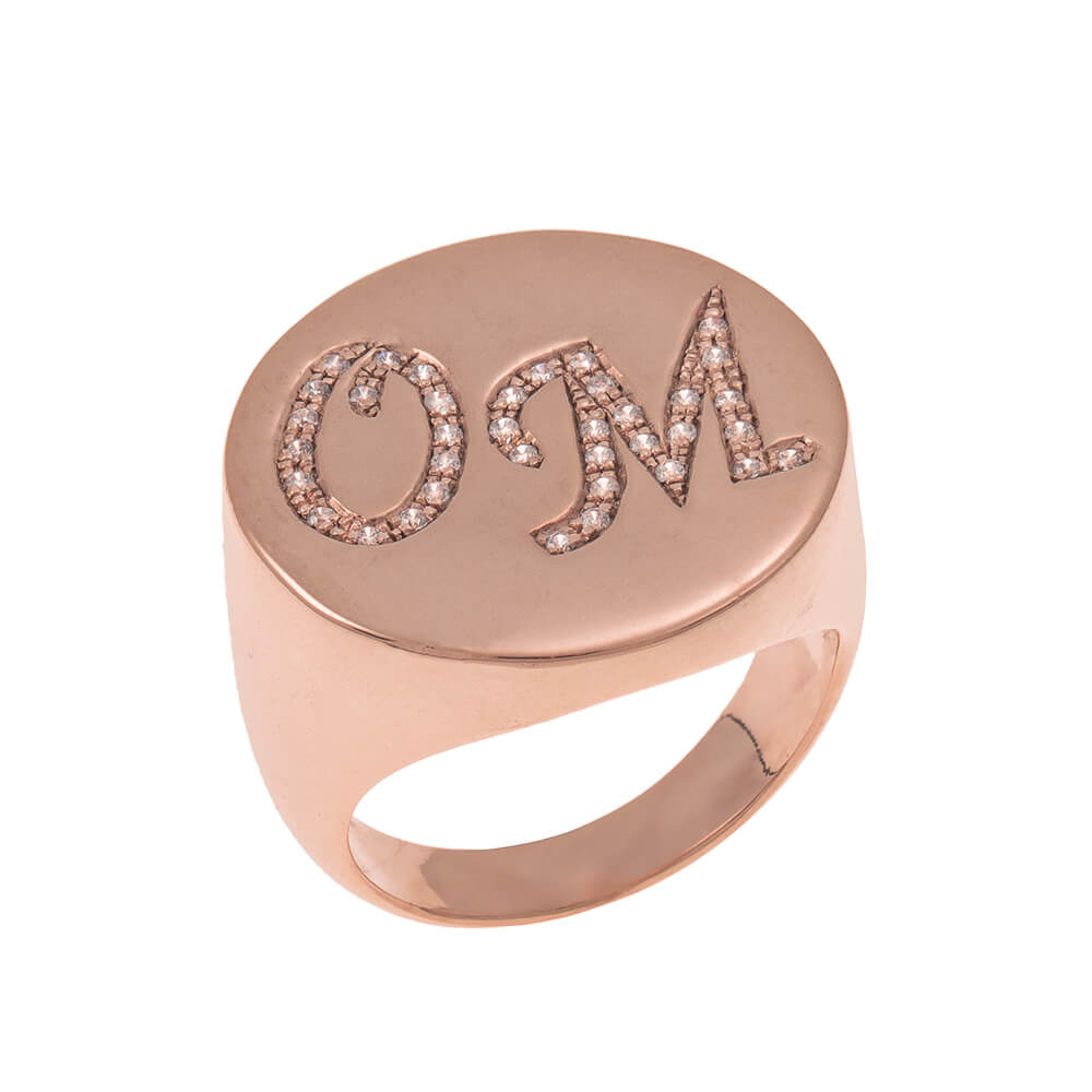 Two Initials Inlay Signet Ring rose gold