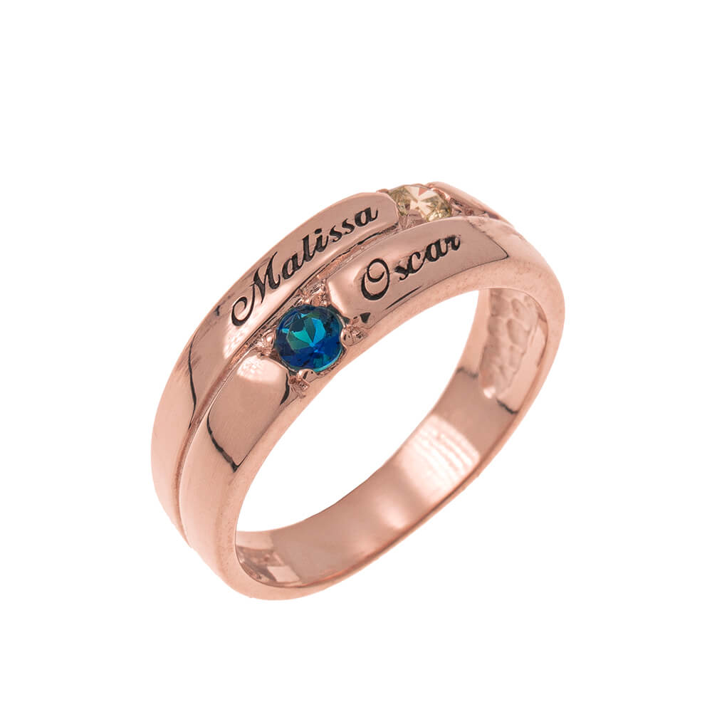 2 Pietre Mother Ring rose gold
