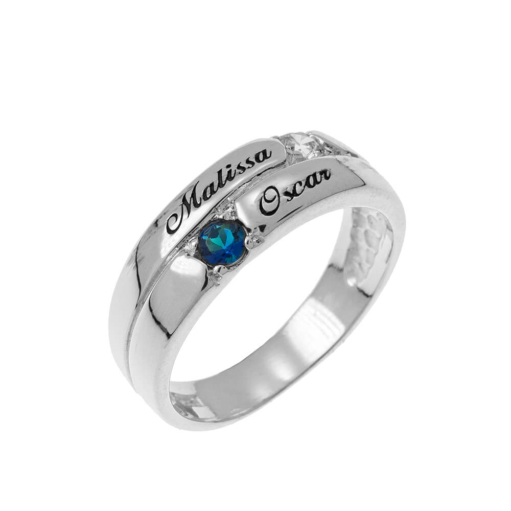 2 Pietre Mother Ring silver