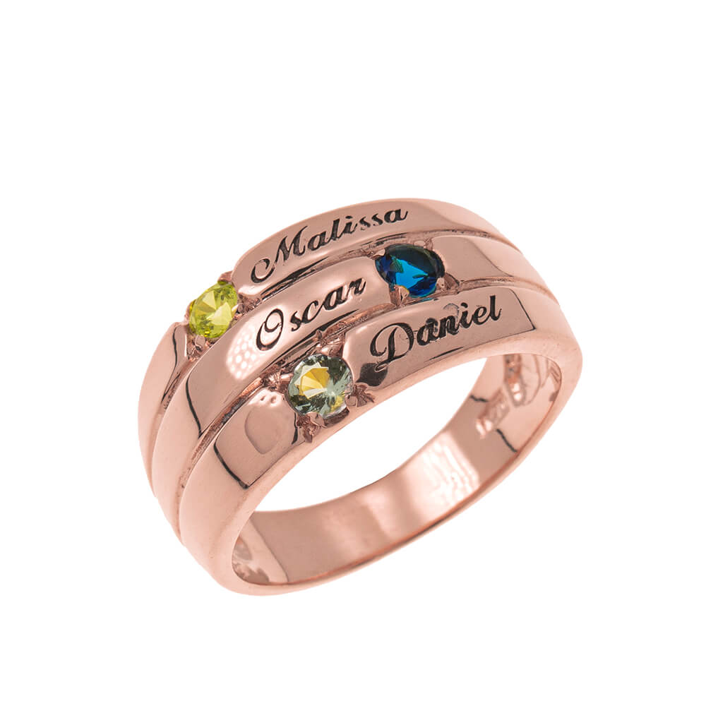 3 Pietre Mother Ring rose gold