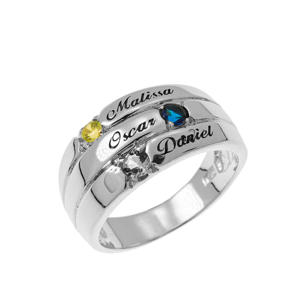 3 Pietre Mother Ring silver