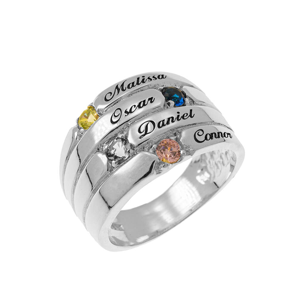 4 Pietre Mother Ring silver