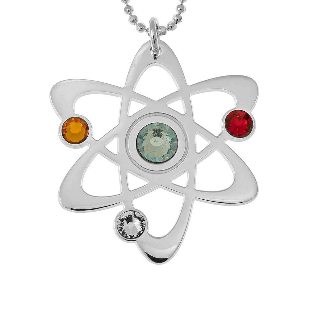 Atom Collana with Birthstones silver