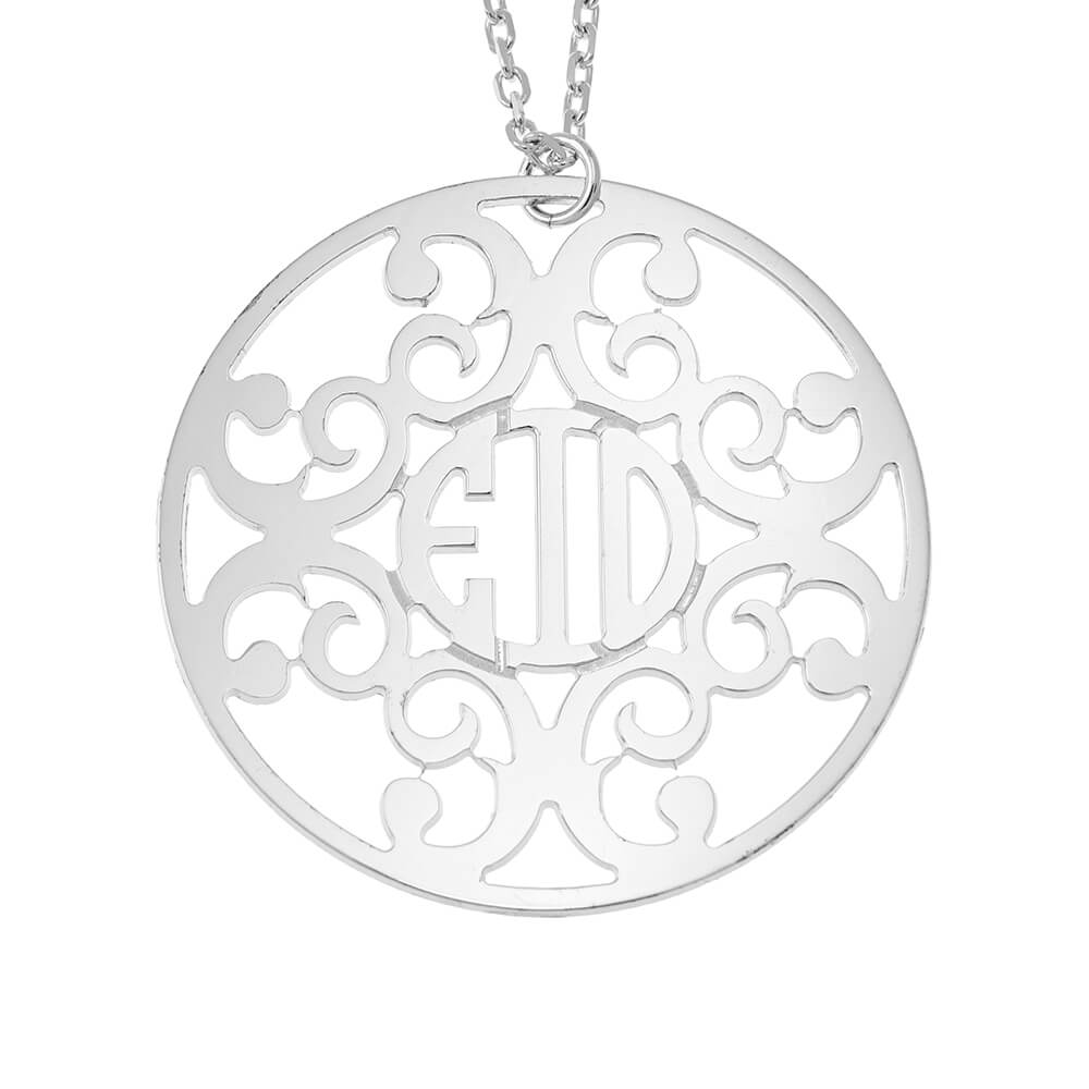 Circle Decorated Monogram Collana silver